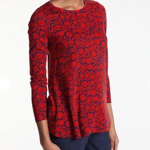 Boden Libby Jersey Red Floral Swing Top, 4